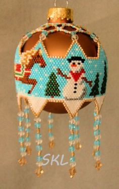 Snow Pony and Snowman woven Delica bead Christmas by SKLstyles, $35.00