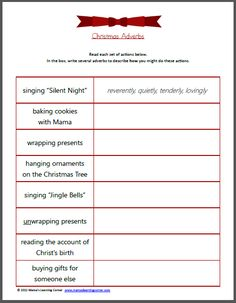 Christmas Adverbs - describe how you would complete each Christmas-themed activity!