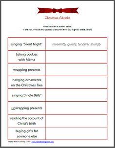 christma adverb, worksheets, christmas, adverb worksheet