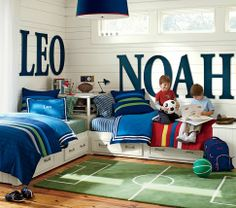 cute soccer field theme double boys room... I love the letters!