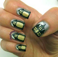 Distorted Not-Houses  - #halloween #nails #nailart #hauntedhouse #flightofwhimsy - bellashoot.com