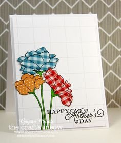 handmade Mother's Day card ... clean and simple design .. luv the big and bright paper pieced flowers ... delightful!!
