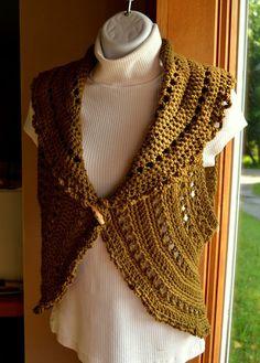Crochet Circle Vest or Sleeveless Shrug in Vintage by LazyTcrochet