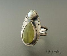 Prehnite Ring Silver Ring Prehnite Jewelry Pearl by LjBjewelry