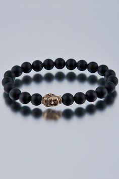 Onyx with Bronze Buddha #Bracelet
