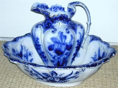 Blue and White Antique Wash Bowl/Basin and Pitcher