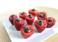 dark chocolate stuffed strawberries with a dash of sea salt on top