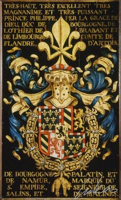 """COAT OF ARMS OF BOURGONDY the Order of the Golden FleeceA coat of arms is a unique heraldic design on a shield or escutcheon or on a surcoat or tabard used to cover and protect armour and to identify the wearer. Thus the term is often stated as """"coat-armour"""", because it was anciently displayed on the front of a coat of cloth. The coat of arms on an escutcheon forms the central element of the full heraldic achievement which consists of shield, supporters, crest and motto."""