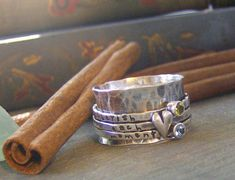 Heart and stone spinner ring hand stamped Birthstone sterling silver spinner ring mothers ring on Etsy, $150.00
