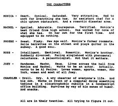 Here are the original character descriptions for everyone's favorite bygone show, Friends. Seems to hold up pretty well, right?