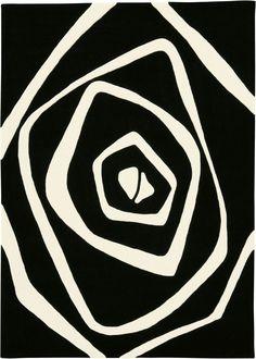 Optical Art White Black Modern Rug