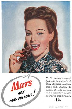 Mars are marvelous - and so is her hair!!! #vintage #1940s #food #ads