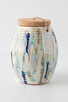 Pistaschio holder?  Splashed Glaze Barrel Canister- Anthro