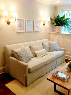 linen couch slipcover   sconces
