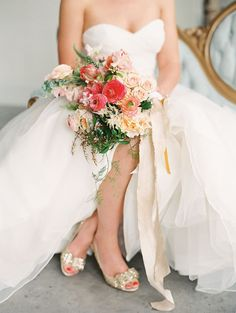 Lovely bright bouquet and gold heels   Landon Jacob