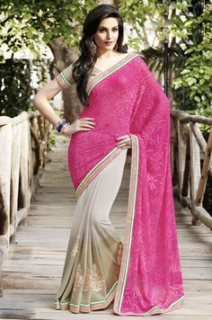 Shaded Beige and Hot Pink Saree
