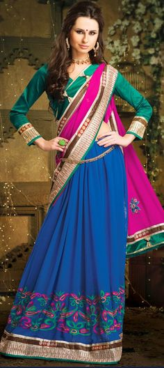 129487, Lehngas Style Sarees, Faux Georgette, Stone, Patch, Border, Lace, Resham, Blue, Pink and Majenta Color Family