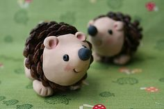 pine cone and poly clay hedgehogs ! how cute are these ..wonder if i could use air dry clay instead .