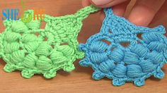 Crochet Puff Stitch Leaf Tutorial 29 Crochet Leaf Library http://sheruknitting.com/videos-about-knitting/crochet-leaf-lessons/item/529-crochet-leaf-tutorial-29.html In this video tutorial you will see how to crochet a small round leaf working puff stitches around the posts of double crochet stitches. To give a finished look to this crocheted leaf work a single crochet and picot trim all around.