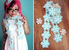 Free Crochet Pattern at Michaels.com: Snowflake Sugar Cookie Scarf