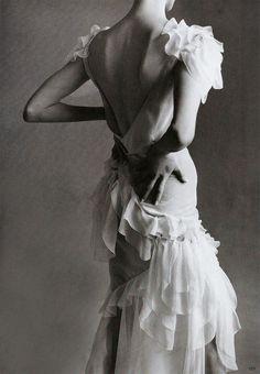 """Fashion's Four Schools"". Linda Evangelista in John Galliano shot by Steven Meisel for Vogue US July 1995"