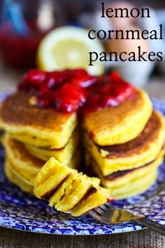 Lemon Cornmeal Pancakes with Strawberry Sauce via @Jenna Nelson (Eat, Live, Run) #pancakes
