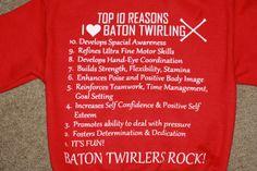 Why I love Baton  Baton Twirlers Rock  Youth or by AmarisCloset, $35.00