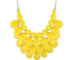 yellow 3 row teardrop Statement Jewelry, Chunky Necklace,