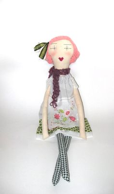 Esme: Handmade Rag Doll - Soft Cloth Doll - 24 Inches Eco Friendly - Vintage & Recycled Textiles - Pink and Green. $120.00, via Etsy.