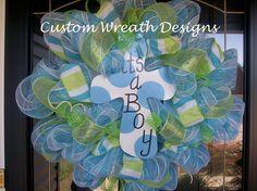 Its a Boy Polka Dot Mesh Wreath. $75.00, via Etsy.