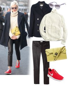 Sneakers can work with a super-chic outfit - love this!