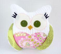 Owl Pillow Plush  Chubby Chenille  Riley Blake fabric by aprilfoss, $34.00