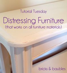 Tutorial DIY distressing furniture with paint that works on all furniture metal and glass too!