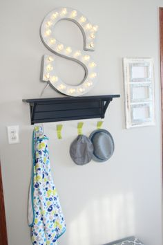 "DIY ""S"" Marquee | Simon's nursery reveal | boy nursery decor | navy green gray baby room | thisisourbliss.com"