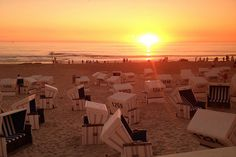 Sylt, Germany The island of Sylt is one of the Frisian Islands in the North Sea. Despite the North Sea's reputation for chilliness, it is known as Germany's St Tropez. In July and August, smart German visitors flock here to top up their tans, to see – and be seen.  Sylt is connected to the mainland by a causeway and it's a pretty island of red-and-white striped lighthouses, thatched-roof houses, and, on the beaches, Strandkörbe (the stripy shell-shaped sun loungers). The west coast of the island