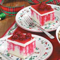 Cherry Dream Cake~  Ingredients:  1 package white cake mix (regular size)  1 package (3 ounces) cherry gelatin,  1-1/2 cups boiling water,  1 package (8 ounces) cream cheese, softened,  2 cups whipped topping,  1 can (21 ounces) cherry pie filling.