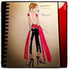 #emmawatson wears the pants at the #goldenglobes #illustration #paulamangin