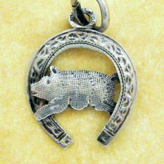 German lucky pig in a horseshoe silver charm