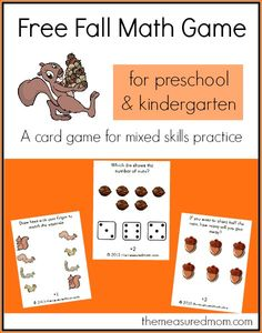 measurment for kindergarten, math games for preschool, fall math, nuts, free fall, preschools, preschool printabl