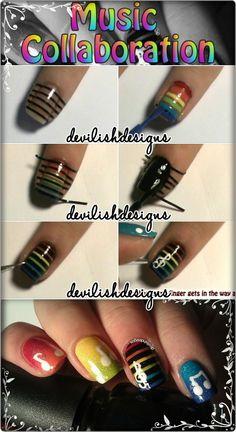 nail art tutorials, nailart, nail arts, nail tutorials, music pictures, bridal parties, music nail, rainbow, party nails