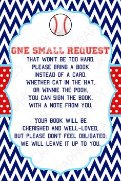 Boys Baby Shower Bring a Book Insert Card  Baseball by Sassygfx, $5.00
