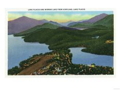 Vintage postcard of Lake Placid and Mirror Lake