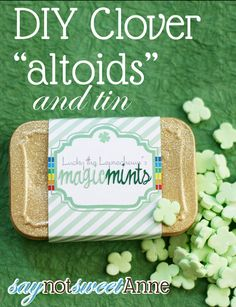 Make your own clover shaped mints at Saynotsweetanne.com shape mint, saynotsweetannecom, craft, clovers, altoids mints, clover shape, make your own mint, candi, holidays