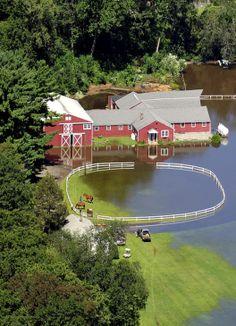 Barn In Flood Waters