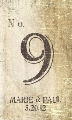 wine labels for table numbers