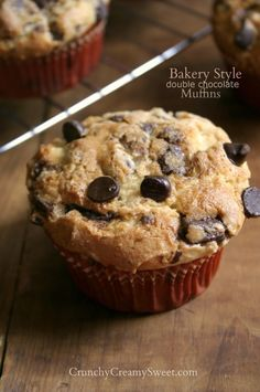 Bakery Style Double Chocolate Muffins by CrunchyCreamySweet.com