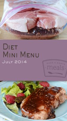 This Diet Mini July 2014 Menu brings together a few simple and flavorful dinners to make eating healthy a stress free option for the whole family. | Once A Month Meals | Freezer Cooking | Freezer Meals | OAMC | Weight Watchers Points Plus