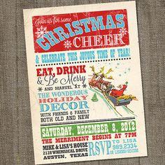 Vintage Christmas Cheer Holiday Christmas PRINTABLE Party Invitation