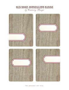 Free – Old Book – Journaling Cards ... #ProjectLife #Scrapbooking