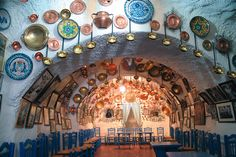 """One of Granada's """"Zambra"""" caves where the Gypsies of the Sacromonte district stage their flamenco shows"""